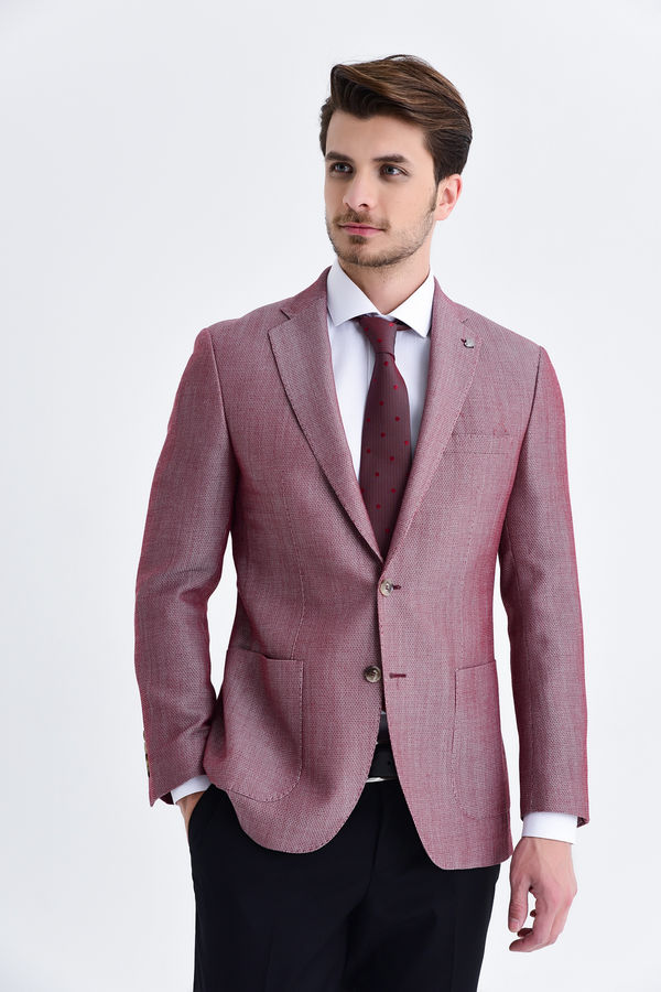 Hatem Saykı - Bordo Slim Fit Desenli Blazer Ceket