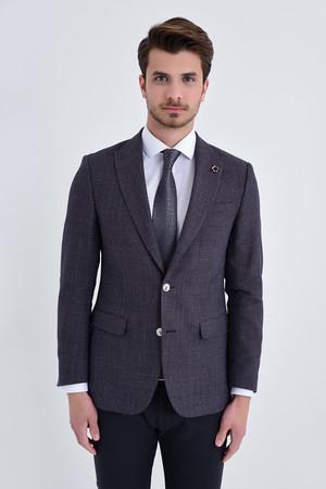 Hatem Saykı - Desenli Slim Fit Bordo Ceket
