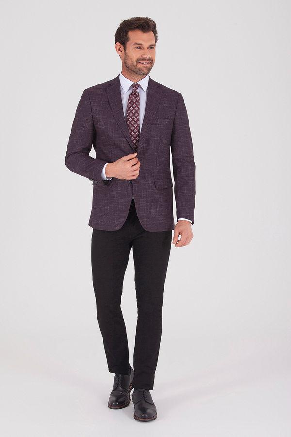 Hatemoğlu - Desenli Slim Fit Bordo Ceket (1)