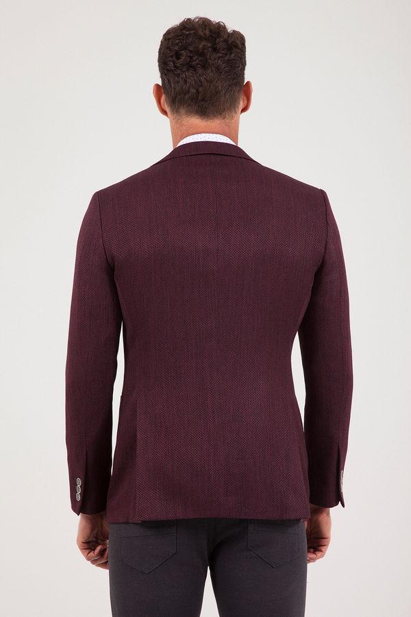 Bordo Slim Fit Desenli Klasik Ceket