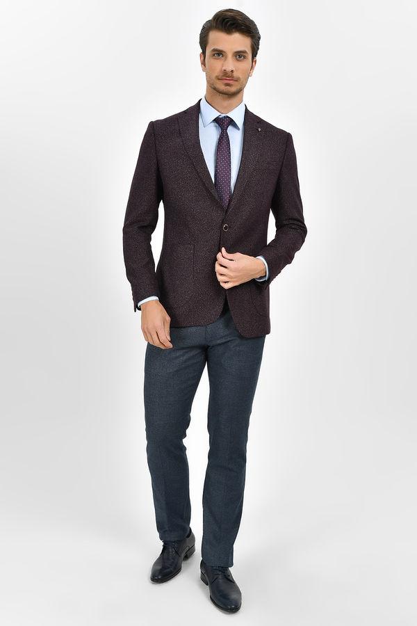 Hatemoğlu - Bordo Slim Fit Desenli Ceket (1)