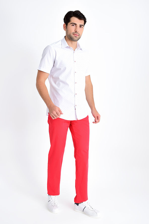 Kısa Kol Kırmızı Desenli Gömlek