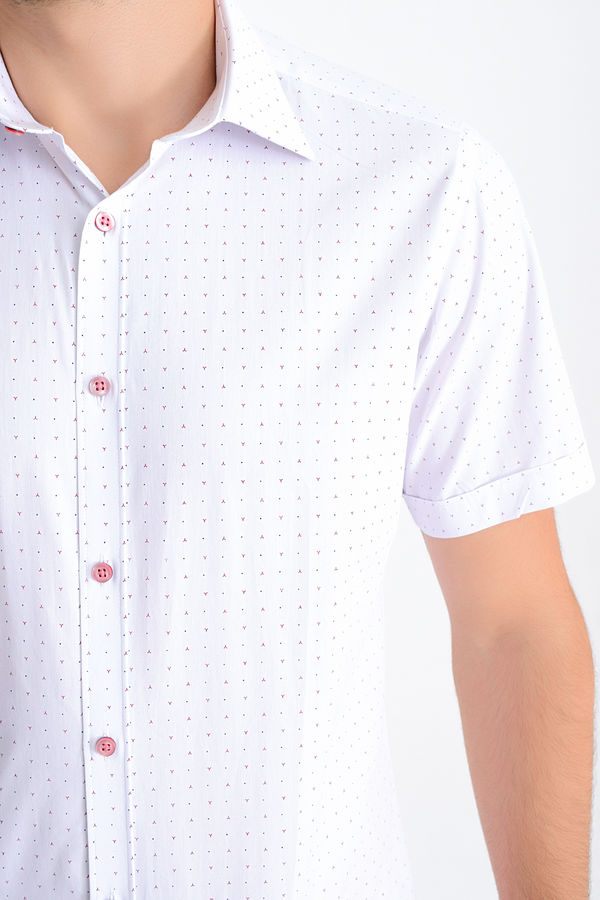 Desenli Slim Fit Bordo Gömlek