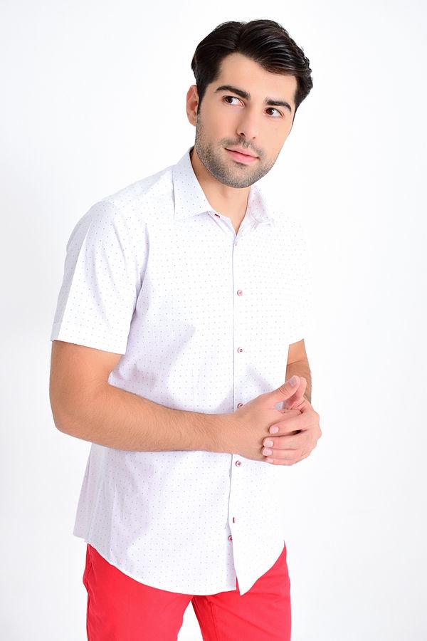 Hatemoğlu - Desenli Slim Fit Bordo Gömlek