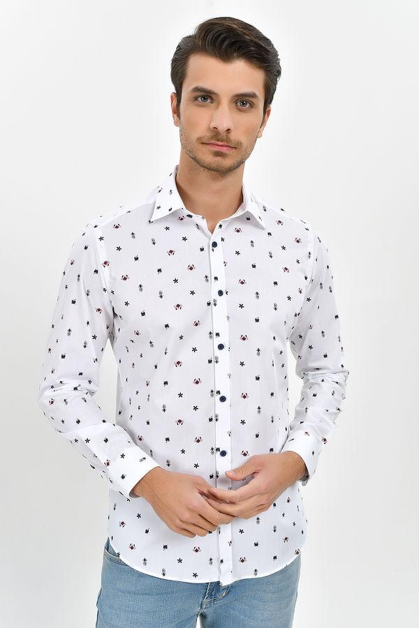 HTML - Desenli Slim Fit Beyaz Gömlek