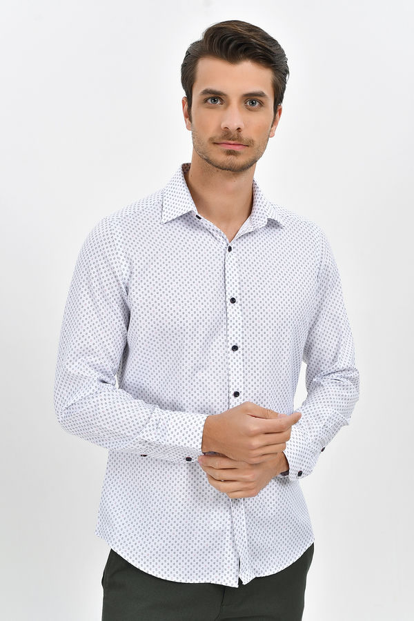HTML - Desenli Slim Fit Bordo Gömlek