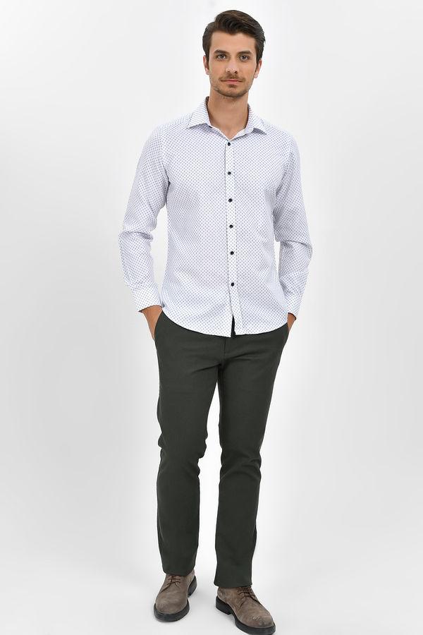 HTML - Desenli Slim Fit Bordo Gömlek (1)