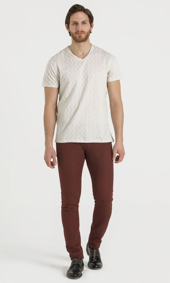 Hatem Saykı - Desenli Slim Fit Bordo Pantolon (1)