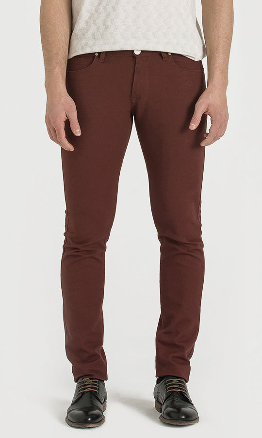 Hatem Saykı - Desenli Slim Fit Bordo Pantolon