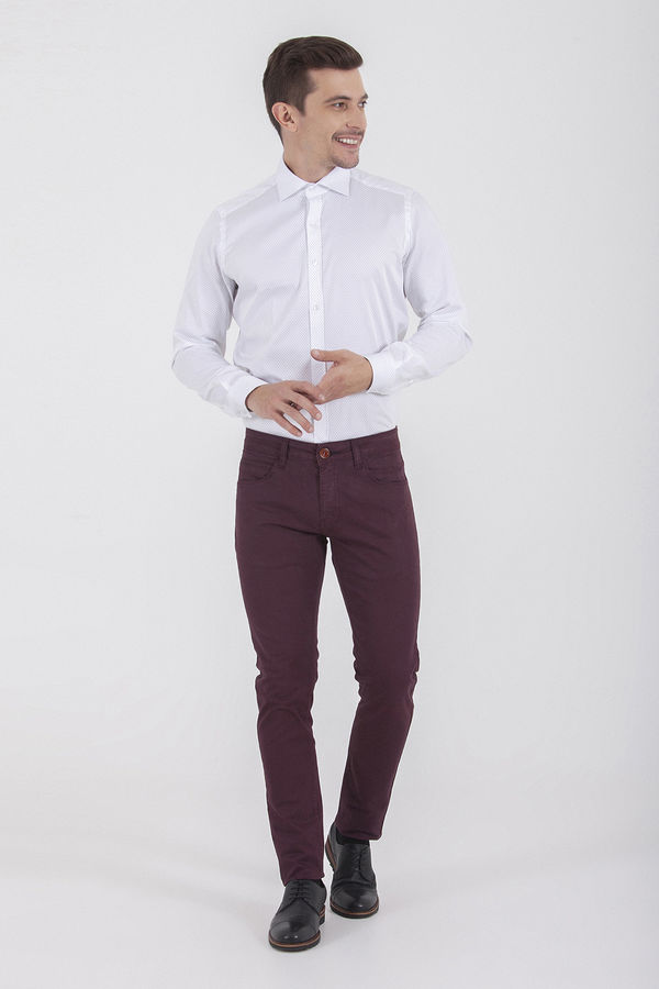 HTML - Desenli Slim Fit Bordo Pantolon (1)