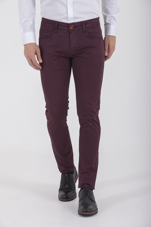 HTML - Desenli Slim Fit Bordo Pantolon