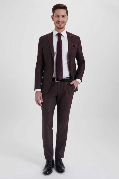 HTML - Desenli Slim Fit Bordo Takım Elbise
