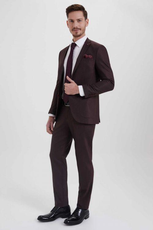 HTML - Desenli Slim Fit Bordo Takım Elbise (1)