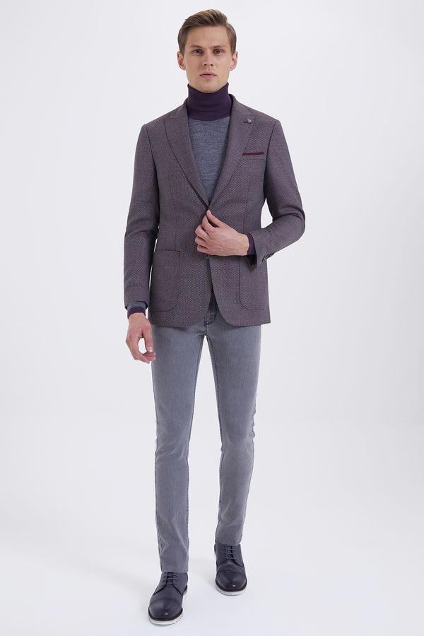 Hatem Saykı - Desenli Slim Fit Bordo Yün Ceket (1)