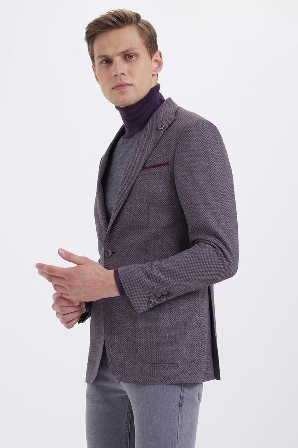 Hatem Saykı - Bordo %100 Yün Slim Fit Desenli Ceket