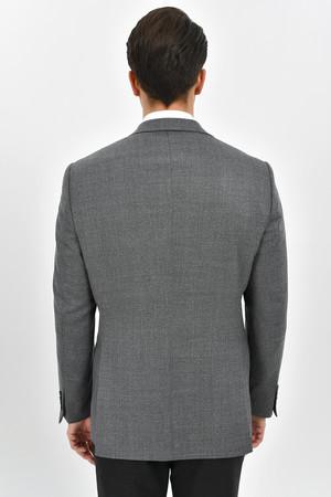 Gri %100 Yün Slim Fit Desenli Ceket - Thumbnail