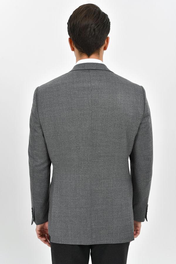 Gri %100 Yün Slim Fit Desenli Ceket