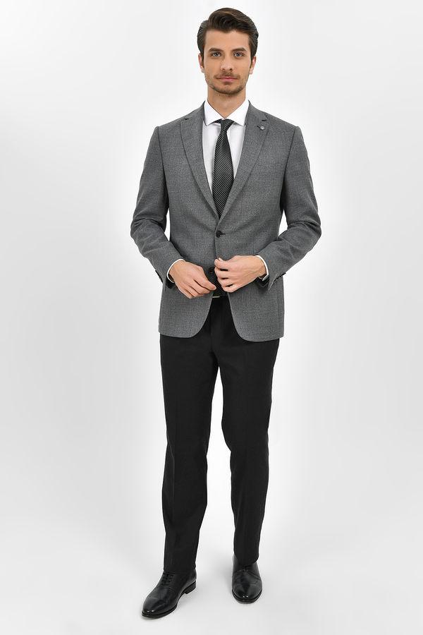 Hatem Saykı - Gri %100 Yün Slim Fit Desenli Ceket (1)