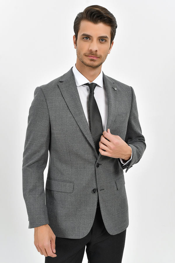 Hatem Saykı - Gri %100 Yün Slim Fit Desenli Ceket
