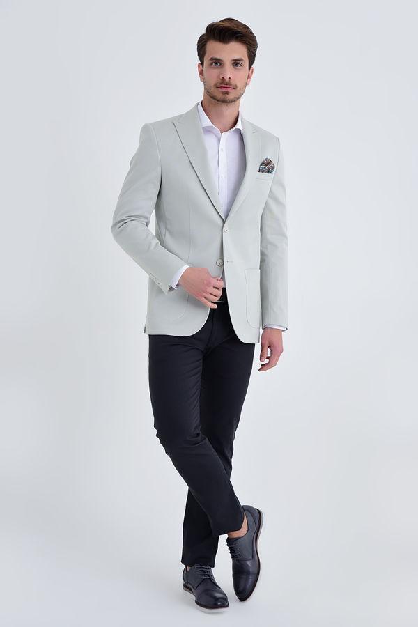 Hatem Saykı - Desenli Slim Fit Gri Ceket (1)