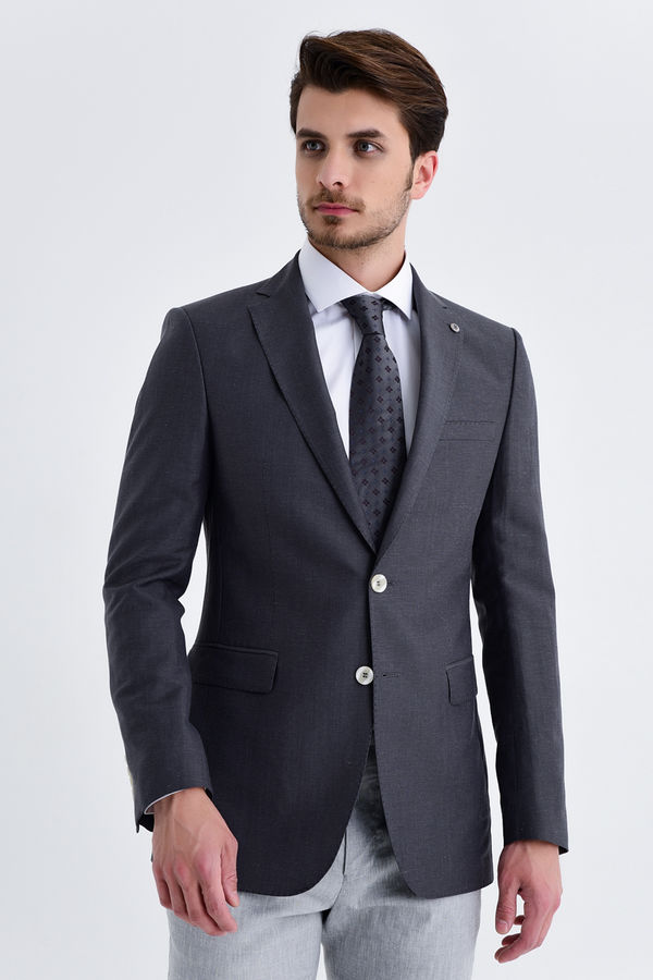 Hatem Saykı - Desenli Slim Fit Gri Ceket