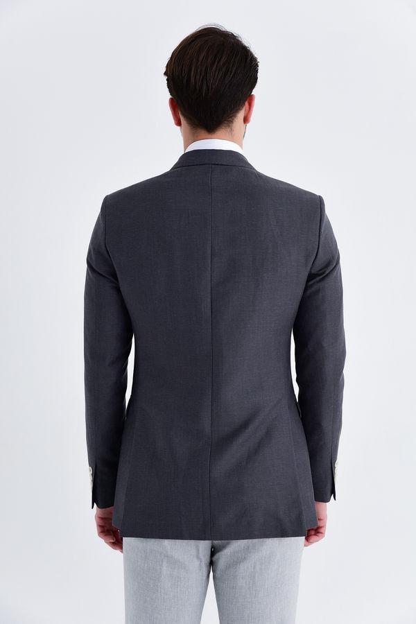 Gri Slim Fit Klasik Ceket