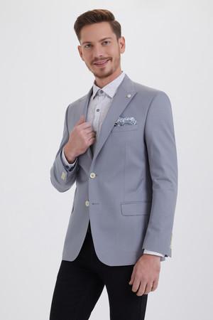 Hatem Saykı - Gri Slim Fit Klasik Ceket