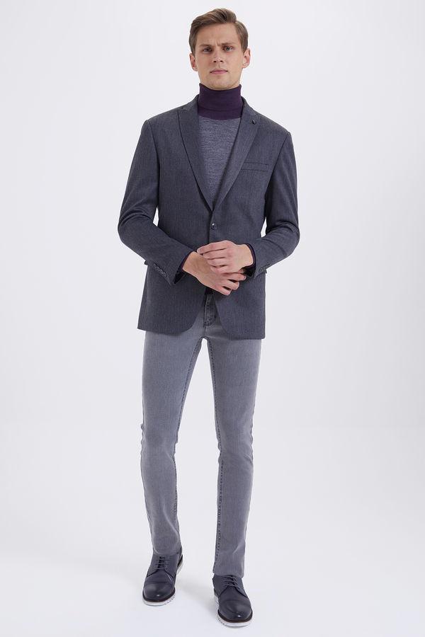 Desenli Slim Fit Gri Ceket