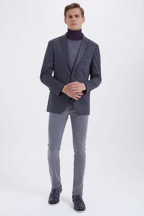 Hatemoğlu - Gri Slim Fit Desenli Klasik Ceket (1)