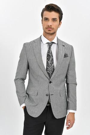 Hatem Saykı - Açık Gri Slim Fit Desenli Ceket