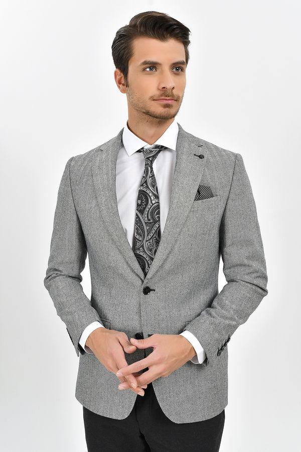 Açık Gri Slim Fit Desenli Ceket