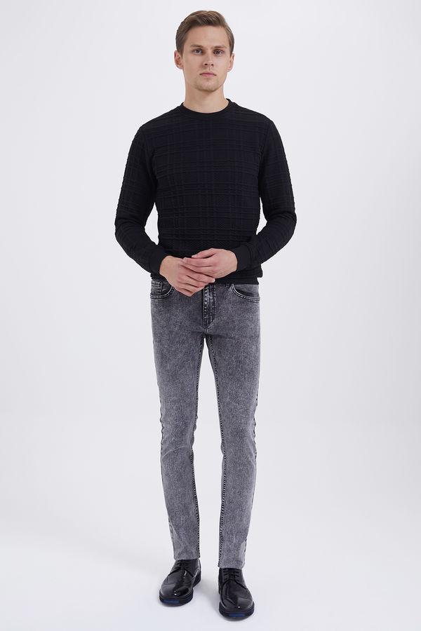 HTML - Desenli Slim Fit Gri Pantolon (1)