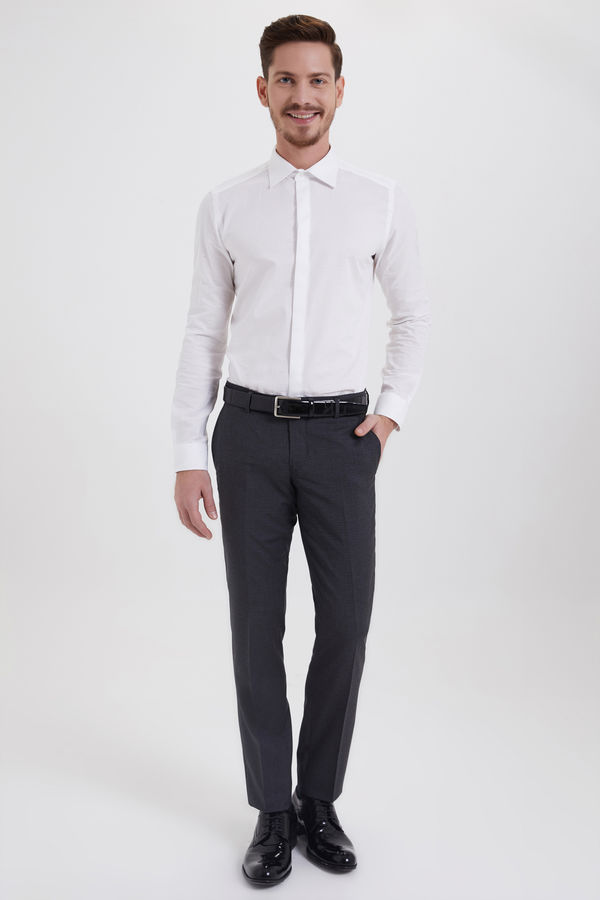 Hatem Saykı - Desenli Slim Fit Gri Pantolon (1)