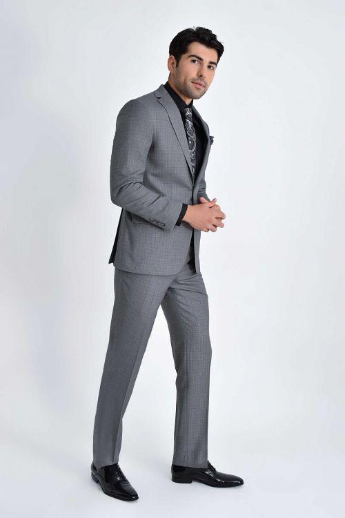 Hatemoğlu - Gri Desenli Slim Fit Takım Elbise (1)