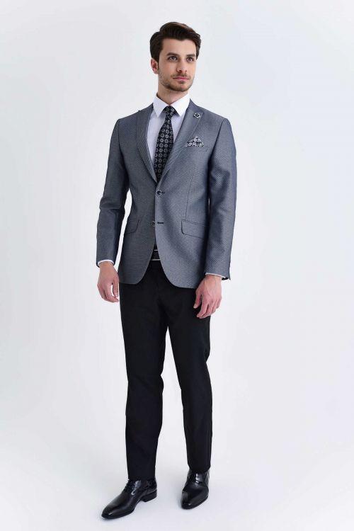 HTML - Desenli Slim Fit Gri Takım Elbise (1)