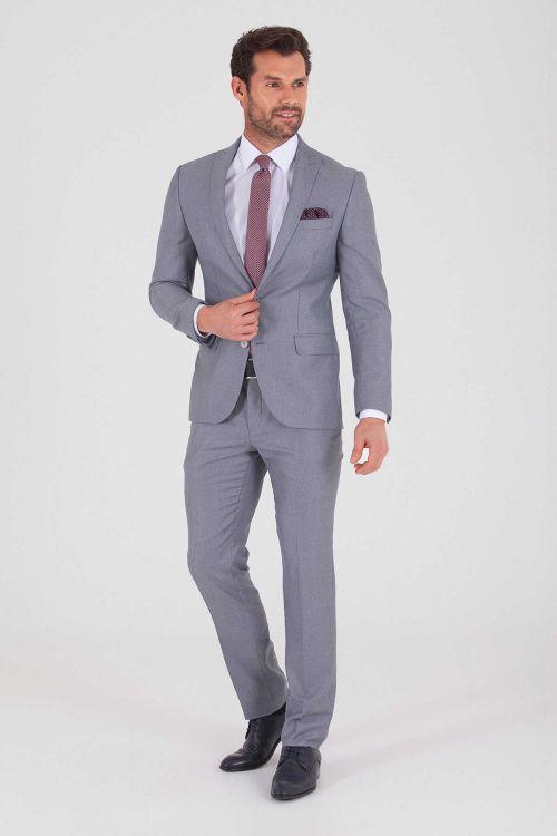 HTML - Açık Gri Desenli Slim Fit Takım Elbise