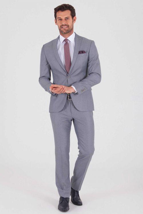 HTML - Açık Gri Desenli Slim Fit Takım Elbise (1)