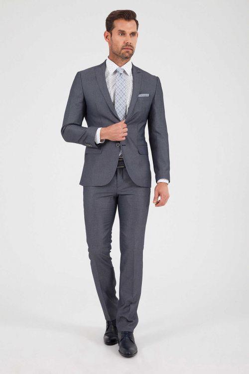 HTML - Desenli Slim Fit Gri Takım Elbise