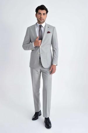 Hatem Saykı - Açık Gri Desenli Slim Fit Takım Elbise