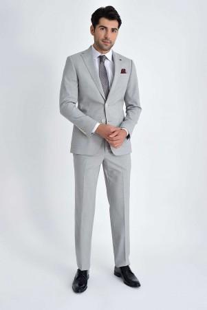 Hatem Saykı - Açık Gri Desenli Slim Fit Takım Elbise (1)