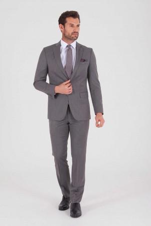 Hatem Saykı - Gri Desenli Slim Fit Takım Elbise