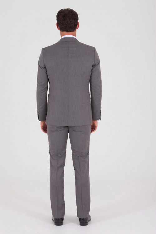 Desenli Slim Fit Gri Takım Elbise