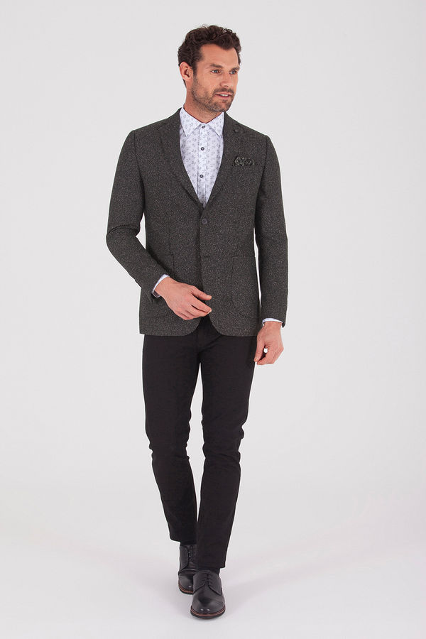 Hatemoğlu - Haki Slim Fit Desenli Klasik Ceket (1)