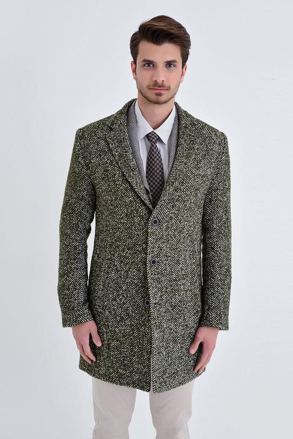 HTML - Desenli Slim Fit Haki Palto