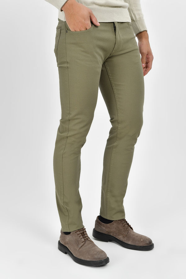 Desenli Slim Fit Haki Pantolon