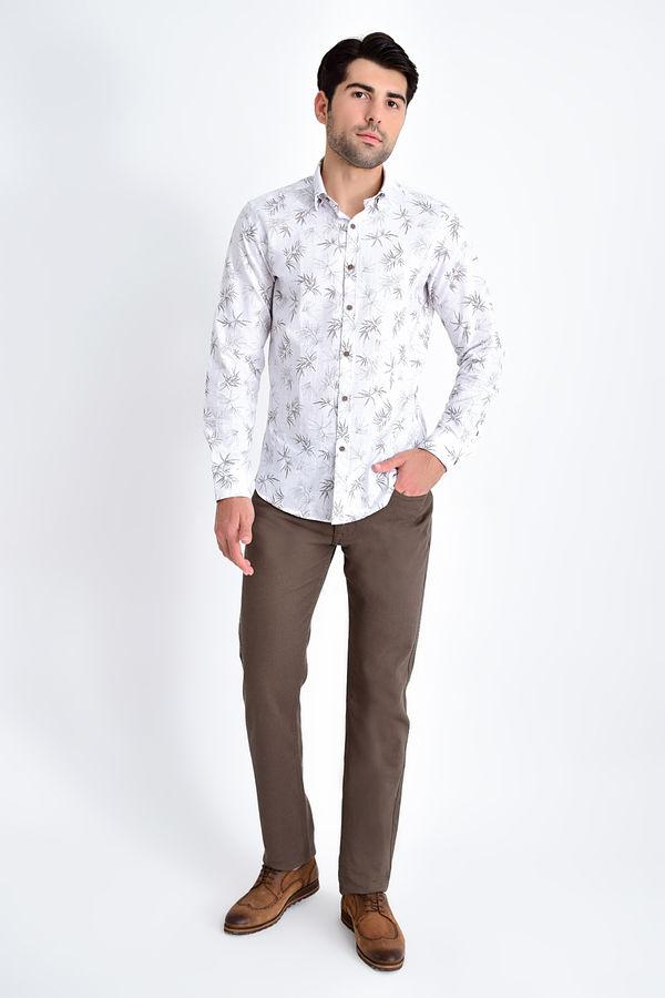 HTML - Desenli Slim Fit Kahverengi Gömlek (1)