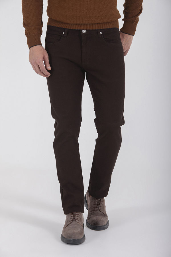Hatem Saykı - Desenli Slim Fit Kahverengi Pantolon