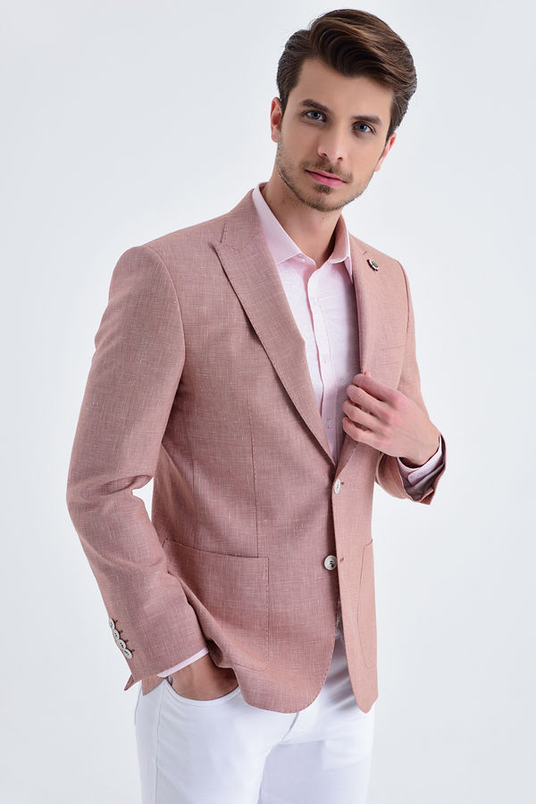 Hatem Saykı - Desenli Slim Fit Kiremit Ceket