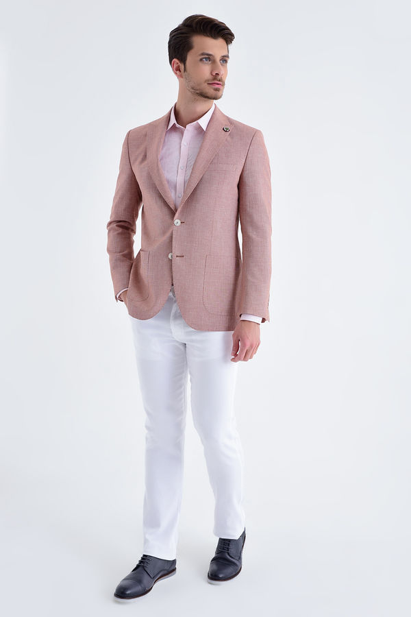 Hatem Saykı - Desenli Slim Fit Kiremit Ceket (1)