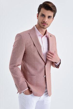 Desenli Slim Fit Kiremit Ceket